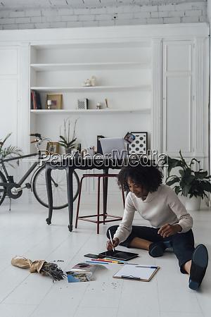 disigner sitting on ground of her