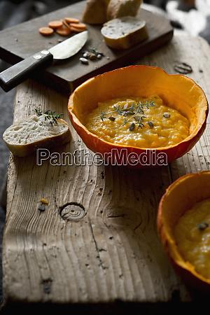 hokkaido pumpkin soup in pumpkin half
