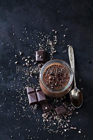 dessert of chia seeds chocolate and