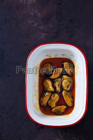 bowl of blue mussel in escabeche