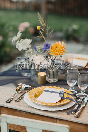 place setting on festive laid table