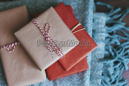 stack of wrapped christmas presents on