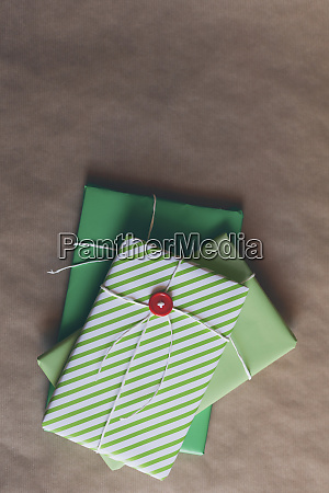 wrapped christmas presents in a stack