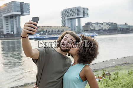 germany cologne happy couple taking a