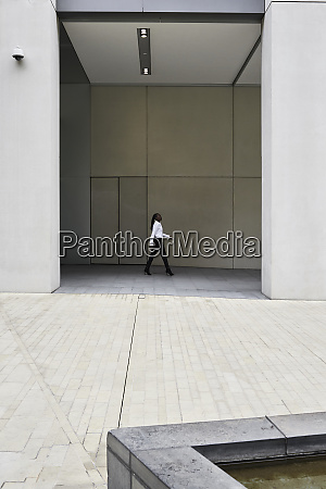 businesswoman walking in front of a