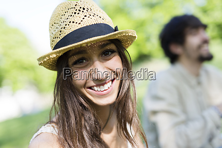 portrait of happy young woman in