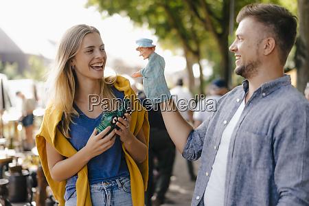 belgium tongeren playful young couple with