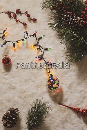 christmas decoration and chain of lights