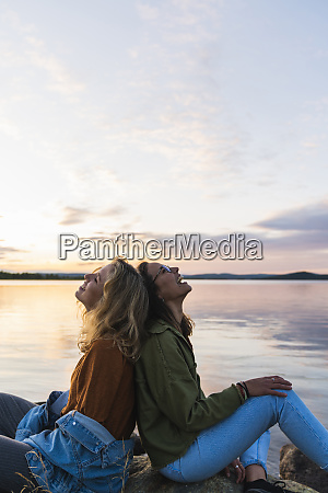 finland lapland two happy young women