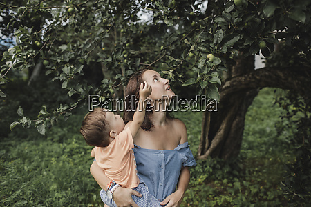 mother holding baby in garden looking