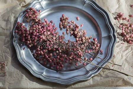 pink peppercorns on tin plate