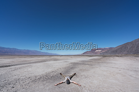 usa california death valley man lying