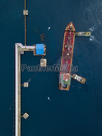 indonesia bali aerial view of tanker