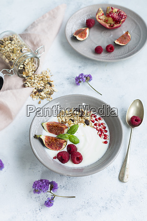 bowl of natural yoghurt with fruit