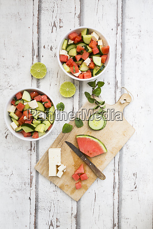watermelon salad with feta cucumber mint