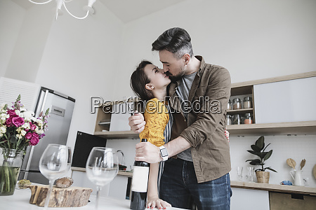 couple in love kissing in the