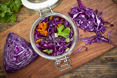 homemade red cabbage fermented with chili