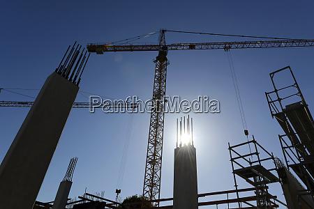 germany bavaria geretsried construction site crane