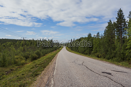finland lapland empty country road