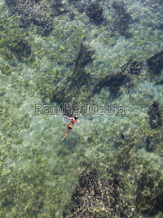 indonesia bali aerial view of snorkeler