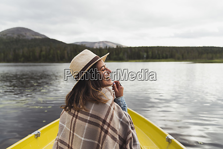 finland lapland happy woman wearing a