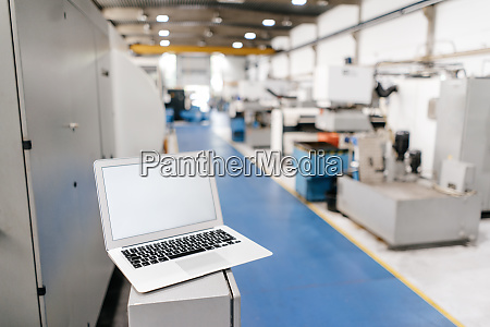 laptop with blank screen in factory