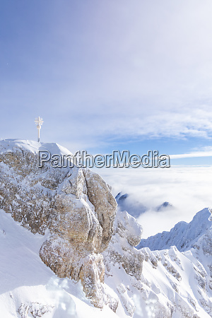 germany bavaria zugspitze summit cross in