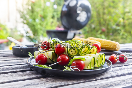 grilled vegetarian grill skewers tomato sheep