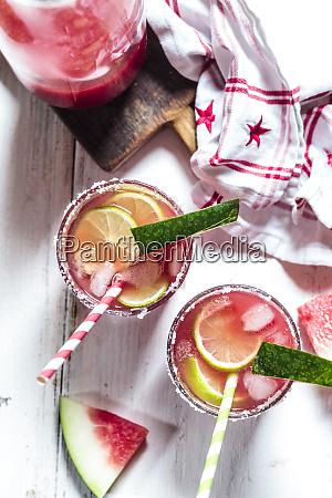 glasses of melon margarita with watermelon