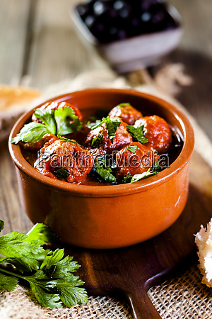 spanish albondingas meatballs in spicy tomato