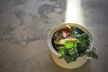 kitchen scraps in a vintage bowl