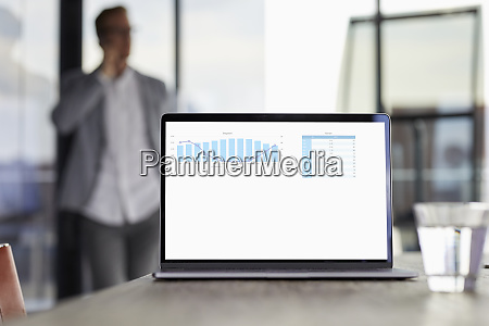 chart on laptop screen on desk