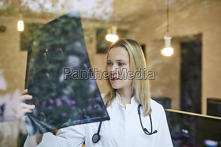 female doctor looking at x ray