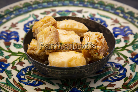 baklava in a bowl on plate