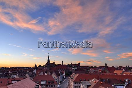 skyline of nuremberg at sunset bavaria