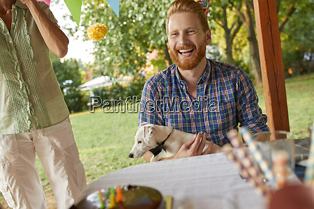 happy man with dog on a