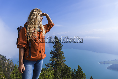 young woman hiking in the bavarian