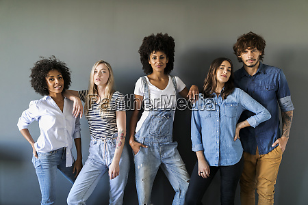 group portrait of friends standing at