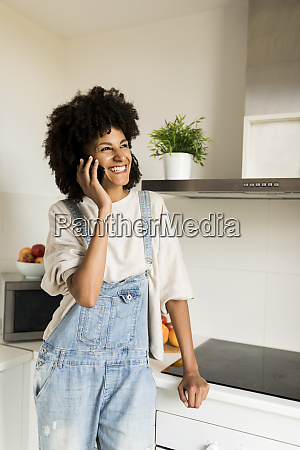 happy woman on cell phone in