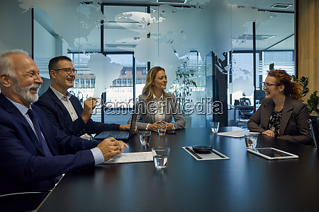 group of happy business people having
