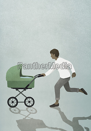father running with baby stroller