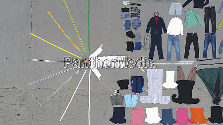 knolling of teenage boy and clothing