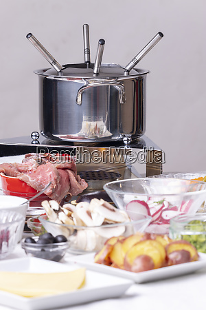 broth fondue with sauces