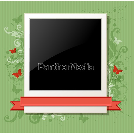 green vintage vector background with photo