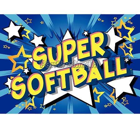 super softball comic book style