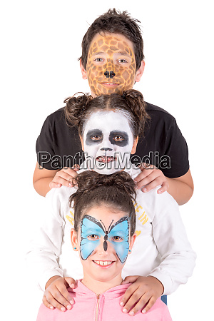 kids with animal face paint