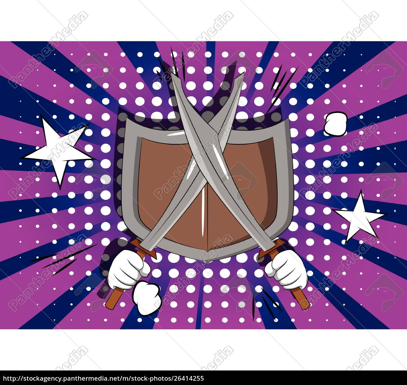 cartoon, hands, holding, two, swords, with - 26414255