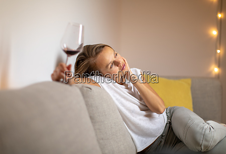 pretty young woman drinking some nice