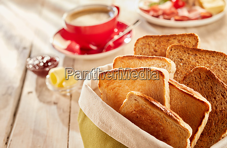freshly made crunchy toasts served with