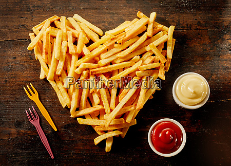 heart shaped serving of french fries